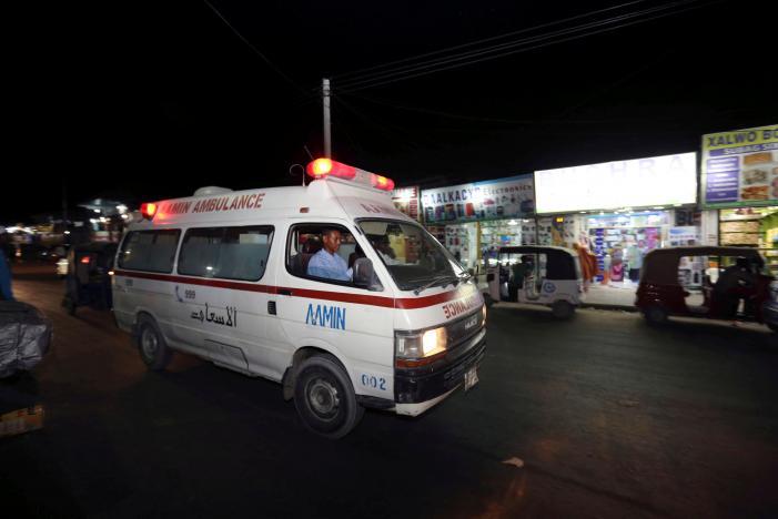 Aamin Ambulance driver Abdulkadir Abdulahi drives a patient through the streets of Mogadishu